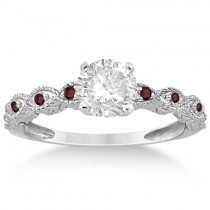 Vintage Marquise Garnet Engagement Ring Palladium (0.18ct)