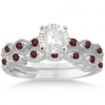 Antique Garnet Bridal Set Marquise Shape 14K White Gold 0.36ct