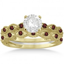 Antique Garnet Bridal Set Marquise Shape 14K Yellow Gold 0.36ct
