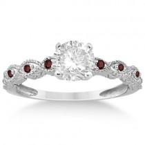 Antique Garnet Bridal Set Marquise Shape Platinum 0.36ct