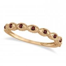 Antique Marquise Shape Garnet Wedding Ring 14k Rose Gold (0.18ct)