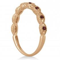 Antique Marquise Shape Garnet Wedding Ring 18k Rose Gold (0.18ct)