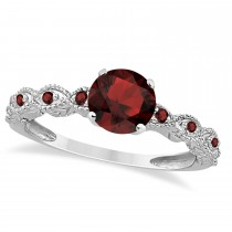 Vintage Style Garnet Engagement Ring 14k White Gold (1.18ct)