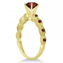 Vintage Style Garnet Engagement Ring 14k Yellow Gold (1.18ct)