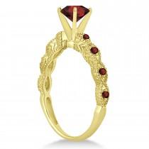 Vintage Style Garnet Engagement Ring 18k Yellow Gold (1.18ct)