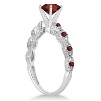 Vintage Garnet Engagement Ring Bridal Set 14k White Gold 1.36ct