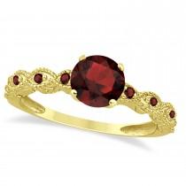 Vintage Garnet Engagement Ring Bridal Set 14k Yellow Gold 1.36ct