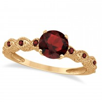 Vintage Garnet Engagement Ring Bridal Set 18k Rose Gold 1.36ct