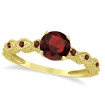 Vintage Garnet Engagement Ring Bridal Set 18k Yellow Gold 1.36ct