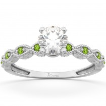 Vintage Marquise Peridot Engagement Ring 18k White Gold (0.18ct)