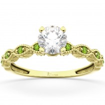 Vintage Marquise Peridot Engagement Ring 18k Yellow Gold (0.18ct)