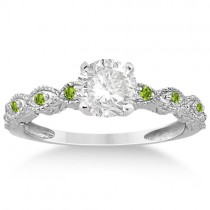 Vintage Marquise Peridot Engagement Ring Palladium (0.18ct)