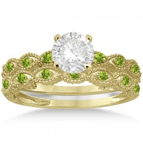 Antique Peridot Bridal Set Marquise Shape 14K Yellow Gold 0.36ct