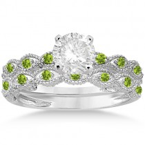 Antique Peridot Bridal Set Marquise Shape 18K White Gold 0.36ct