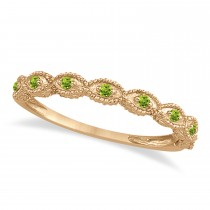 Antique Marquise Shape Peridot Wedding Ring 14k Rose Gold (0.18ct)