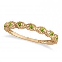 Antique Marquise Shape Peridot Wedding Ring 18k Rose Gold (0.18ct)
