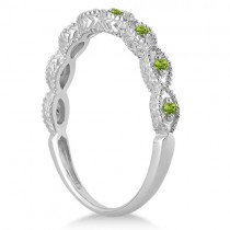 Antique Marquise Shape Peridot Wedding Ring 18k White Gold (0.18ct)