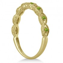 Antique Marquise Shape Peridot Wedding Ring 18k Yellow Gold (0.18ct)