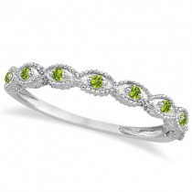 Antique Marquise Shape Peridot Wedding Ring Platinum (0.18ct)