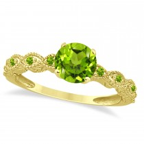 Vintage Style Peridot Engagement Ring 14k Yellow Gold (1.18ct)