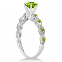 Vintage Style Peridot Engagement Ring 18k White Gold (1.18ct)