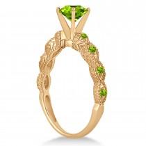 Vintage Peridot Engagement Ring Bridal Set 14k Rose Gold 1.36ct