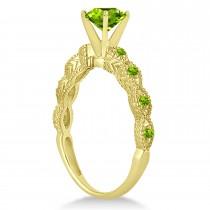 Vintage Peridot Engagement Ring Bridal Set 14k Yellow Gold 1.36ct