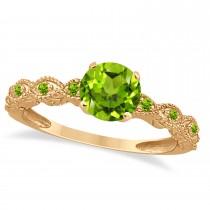 Vintage Peridot Engagement Ring Bridal Set 18k Rose Gold 1.36ct