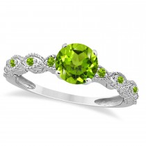 Vintage Peridot Engagement Ring Bridal Set 18k White Gold 1.36ct