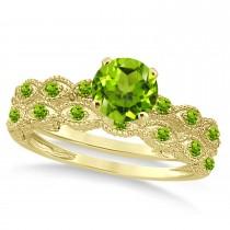 Vintage Peridot Engagement Ring Bridal Set 18k Yellow Gold 1.36ct