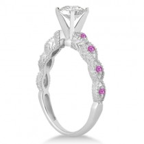 Antique Pink Saphpire Engagement Ring Set 14k White Gold (0.36ct)