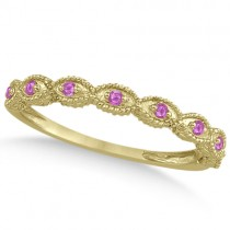 Antique Pink Sapphire Engagement Ring Set 14k Yellow Gold (0.36ct)