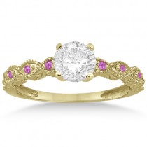 Antique Pink Sapphire Engagement Ring Set 18k Yellow Gold (0.36ct)