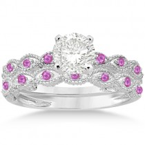 Antique Pave Pink Sapphire Engagement Ring Set Palladium (0.36ct)