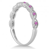 Antique Marquise Pink Sapphire Wedding Ring 14k White Gold (0.18ct)