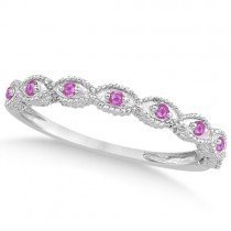 Antique Marquise Pink Sapphire Wedding Ring 18k White Gold (0.18ct)
