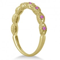 Antique Marquise Pink Sapphire Wedding Ring 18k Yellow Gold (0.18ct)