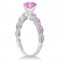 Vintage Style Pink Sapphire Engagement Ring in Platinum (1.18ct)