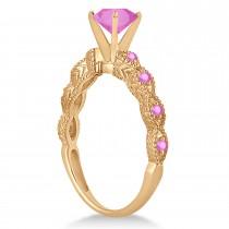 Vintage Pink Sapphire Engagement Ring Bridal Set 14k Rose Gold 1.36ct