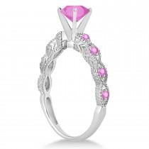 Vintage Pink Sapphire Engagement Ring Bridal Set 14k White Gold 1.36ct