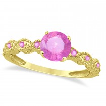 Vintage Pink Sapphire Engagement Ring Bridal Set 14k Yellow Gold 1.36ct