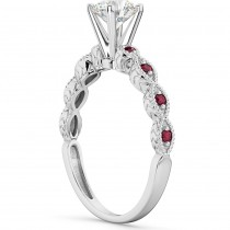 Vintage Marquise Ruby Engagement Ring 18k White Gold (0.18ct)