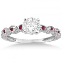 Antique Ruby Engagement Ring and Wedding Ring 14k White Gold (0.36ct)
