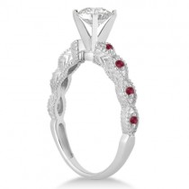 Antique Ruby Engagement Ring and Wedding Band 18k White Gold (0.36ct)