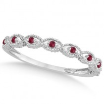 Antique Pave Ruby Engagement Ring and Wedding Band Platinum (0.36ct)