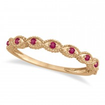 Antique Marquise Shape Ruby Wedding Ring 14k Rose Gold (0.18ct)
