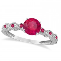 Vintage Style Ruby Engagement Ring Bridal Set 14k White Gold 1.36ct