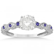 Vintage Marquise Tanzanite Engagement Ring 14k White Gold (0.18ct)