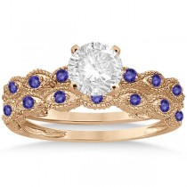 Antique Tanzanite Bridal Set Marquise Shape 14K Rose Gold 0.36ct