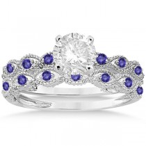 Antique Tanzanite Bridal Set Marquise Shape 14K White Gold 0.36ct